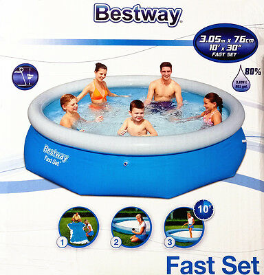 Gift New Bestway Inflatable Family 10 Foot Fast Set Pool (305cm * 76cm) #57266