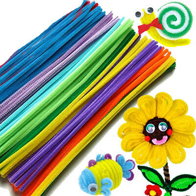 100x Chenille DIY Handcraft Stems Pipe #S Cleaners 30cm Lots of Colours For Kids