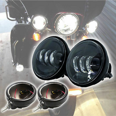 """2X 4.5"""" LED Auxiliary Passing Spot Fog Lights+Housing Bucket Black Harley Lamps"""