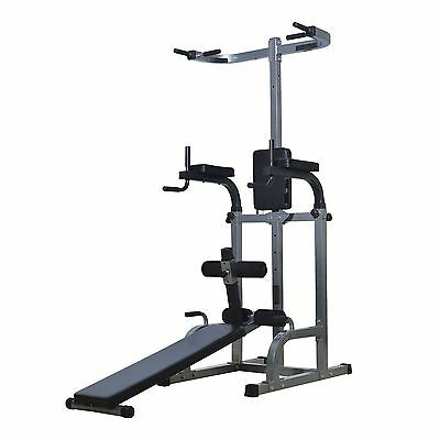 Soozier Power Tower Dip Station Ab Workout Sit-up Bench Pull Up bar Gym combo