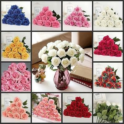 1-30 Head Real Touch Latex Rose Flowers 10 Colors wedding Bouquet Decoration E