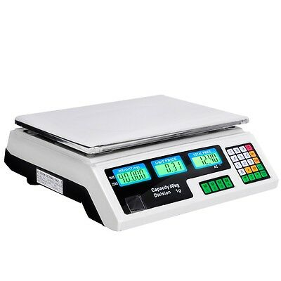 Digital Electronic Scales Weight Kitchen LCD Food Scale Postal 40kg Market White