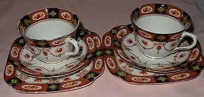 "Art Deco Royal Albion China ""sandon"" 2 Cups 2 Saucers 2 Plates"