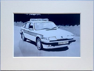 """Rover SD1 Cop Car Mounted Photo Print 8""""x6"""" Limited Edition Ready To Frame"""