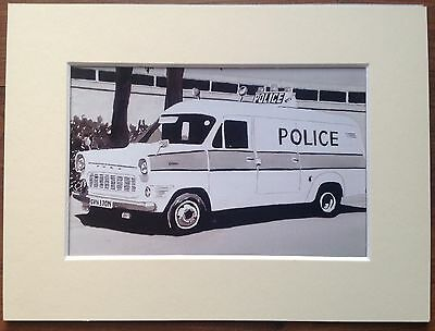 """Ford Transit Police Van Mounted Photo Print 8""""x6"""" Limited Edition Ready To Frame"""