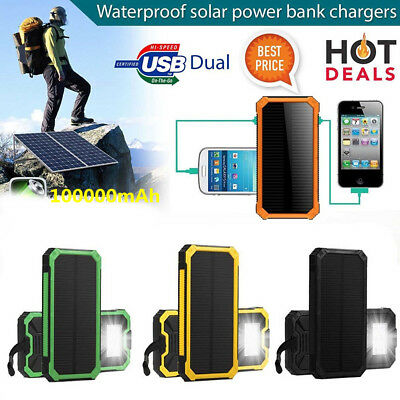 Hot 50000mAh Batterie externe Solaire Chargeur Secours Handy Dual USB POWER BANK