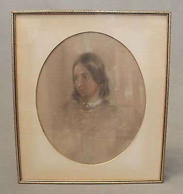 19th Century Pastel Drawing Portrait Beautiful Young Lady Signed Dated 1855
