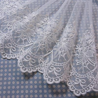 Embroidered Cotton Mesh Net Lace Fabric Floral 18cm Ivory 1Yd  FreeShipping