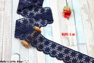 Pretty Dark Navy Blue Cotton Guipure Floral Galloon Lace Trim (Width: 6cm) — 1 M