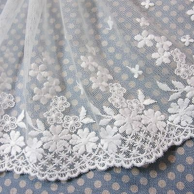 Embroidered Cotton Mesh Net Lace Fabric Floral 13.5cm Offwhite 1Yd  FreeShipping