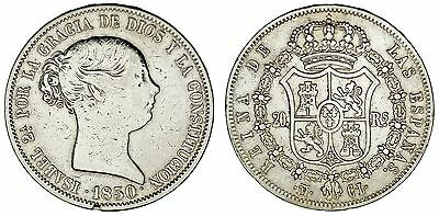 20 Silver Reales/plata. Isabella Ii - Isabel Ii. Madrid 1850 Cl. Vf/ Mbc.