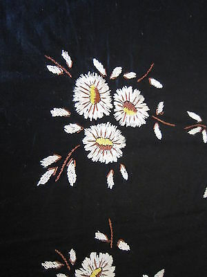 Hand Embroided Fabric with White Flowers Motif Tapestry for pillow case