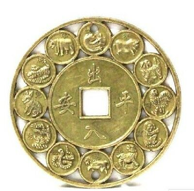 4.5CM Lucky Chinese Zodiac FENG SHUI Coin for Good Luck PROSPERITY PROTECTION