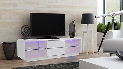 FoxHunter Modern High Gloss Matt TV Cabinet Unit Stand White RGB LED Light TVC10