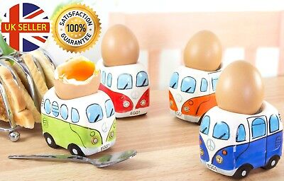 Set Of 4 Coloured Ceramic Camper Van Egg Cups VW Style Peace Sign Themed Gift