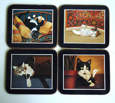 Vintage Cute Kitty Cat Cork Backed Drink Coasters x 4