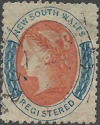 NSW 1860 REGISTERED (6d) RED & Blue ACSC 25 cv$90 very attractive fine used