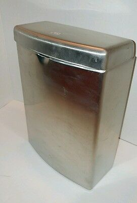 ASI SANITARY NAPKIN DISPOSAL WALL BOX CONTAINER Curved Brushed Stainless New