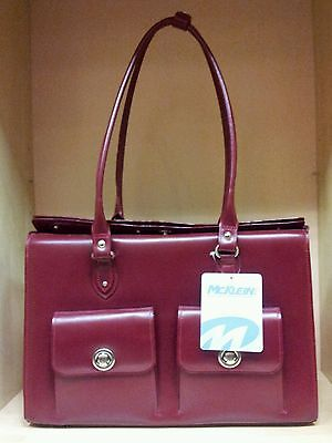 Leather Shoulder Bag Color Burgundy Brand *Mcklein USA *