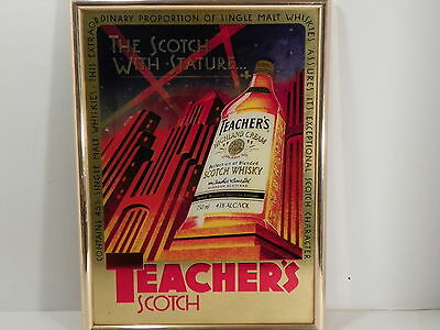 VINTAGE TEACHER'S SCOTCH MIRROR FRAMED SIGN The Scotch with Stature