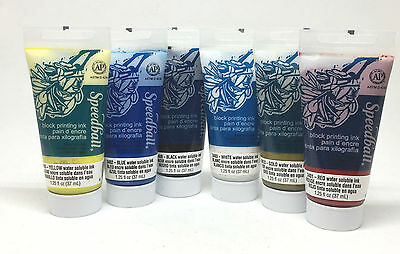 Speedball Water Soluble Block Printing Ink 37cc Set of 6 - Starter Pack