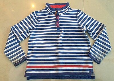 Girls Fat Face Hoodie Sweat Top Age 6-7 Blue White Striped Pretty Logo