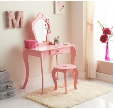 Girl's  Amelia Wooden Pink Vanity Dressing Table  Set With Mirror & Stool