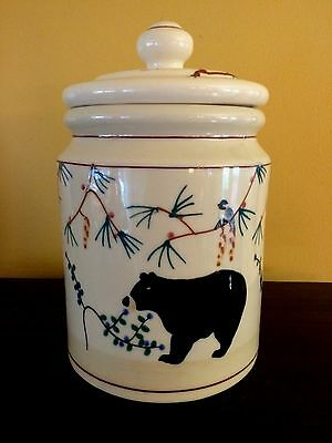 Vintage Hartstone Woodland Pottery Canister / Cookie Jar with Black Bears