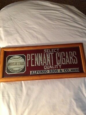 Rare American League Pennant Cigars Reverse Paint Advertising Glass Sign-Nice!