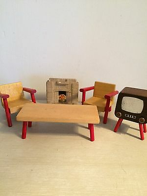 Vintage German Dolls House Furniture Mid Century Table Chairs Fireplace TV