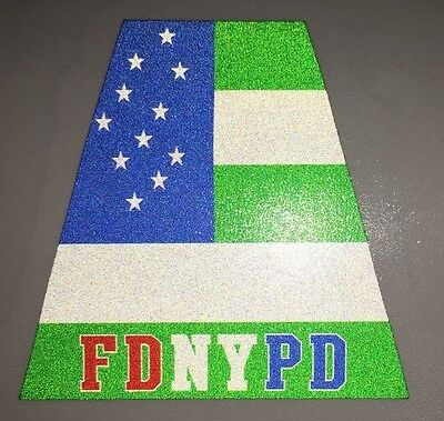 FDNY NYPD Tetrahedron Helmet Sticker, FDNYPD  with NYPD Flag. Single Sticker