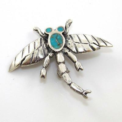Vintage Native American Sterling Silver Blue Turquoise Dragonfly Pin Brooch