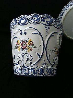 Ceramic Blue and White Flower Pot Planter and Saucer from Portugal