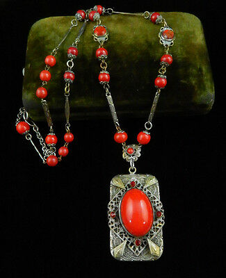 Vtg ART DECO Era Antique SILVER Chinese RED CZECH Glass FILIGREE NECKLACE
