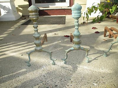 ANTIQUE PERIOD I8TH C EARLY 19 th c  AMERICAN  ANDIRONS BRASS BEEHIVE  DESIGN