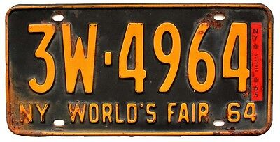 New York 1964 1965 WORLD'S FAIR Broome County License Plate SINGLE PLATE YEAR