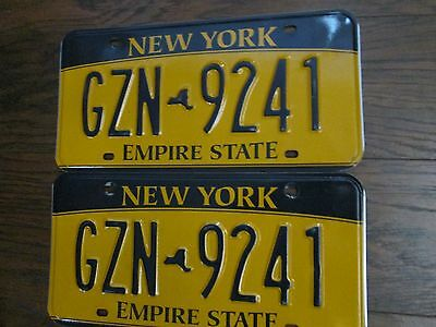 """Vintage Pair Of New York State License Plates  """"gzn 9241"""" Gold/black"""