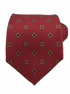 Brooks Brothers Men's Silk Red Geometric Classic Tie Made In USA