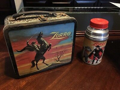 Vintage 1950s Disney Zorro Lunchbox WITH Thermos- RARE- Aladdin Industries