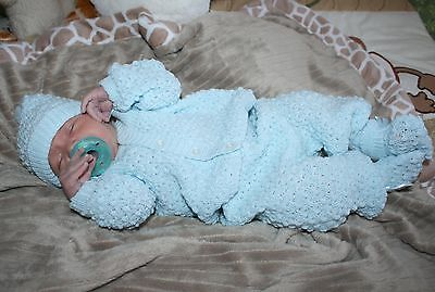 SWEET BOY Knit Baby Doll Outfit For Reborn BLUE