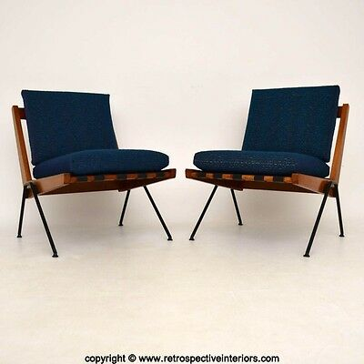 PAIR OF RETRO CHEVRON CHAIRS BY ROBIN DAY FOR HILLE VINTAGE 1950's