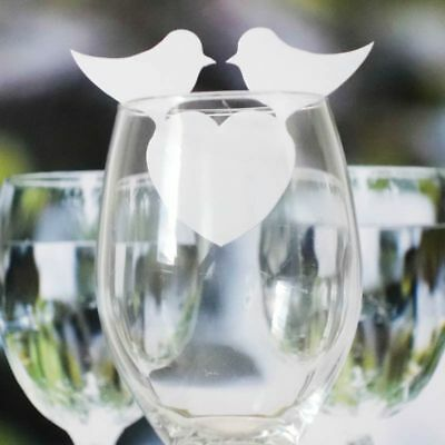 50pcs Chic Love Birds Name Place Cards Holder Wedding Party Wine Glass Decor
