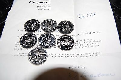 Air Canada Inaugural Flight Medallions  .999 silver  Lot of (7)