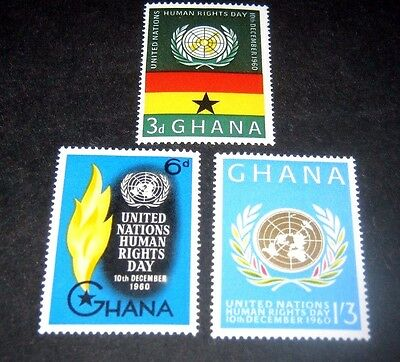 Q.E.II sg256-258 M/H SET OF 3 GHANA HUMAN RIGHTS STAMPS FROM 1960,,,,59p START.