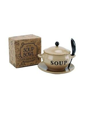 Ceramic Soup Bowl With Sipping Spoon