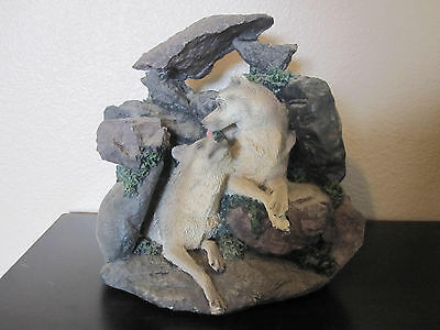 2 Wolves Among Rocks Resin Figurine Beautiful ~ Broke Piece Off The Top