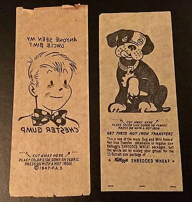 1940's Kellogg's Gro-Pup Dog And Chester gump Iron On Transfer Lot Of 2