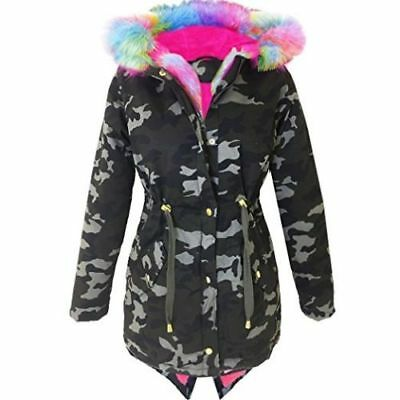 NEW Girls Boohoo Rainbow Pink Hood Parka Jacket Coat Age 5 6 7 8 9 10 11 12 13