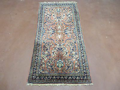 2' X 4' Authentic Antique Hand Made Fine Persian Red Sarouk Wool Rug Iran Nice