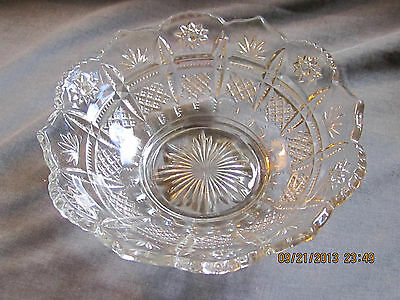 Clear Glass Serving Bowl Believed to be Anchor Hocking Prescut Pattern